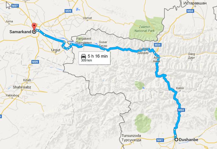 2016-03-20 09_39_23-Dushanbe, Tajikistan to Samarkand, Uzbekistan - Google Maps