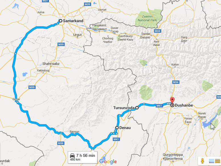 2016-03-20 09_40_38-Samarkand, Uzbekistan to Dushanbe, Tajikistan - Google Maps